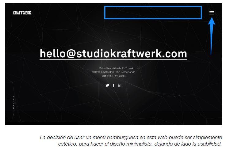 menu hamburguesa en web visual engineering